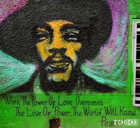 Wall art of Jimmy Hendrix