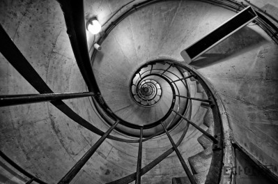 The stairs leading up into the Arc de Triomphe