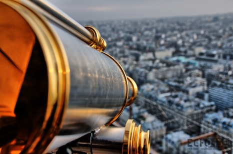OK So it's really one of the telescopes you can pay to use and look down at Paris, but Death Ray sounds so much cooler.