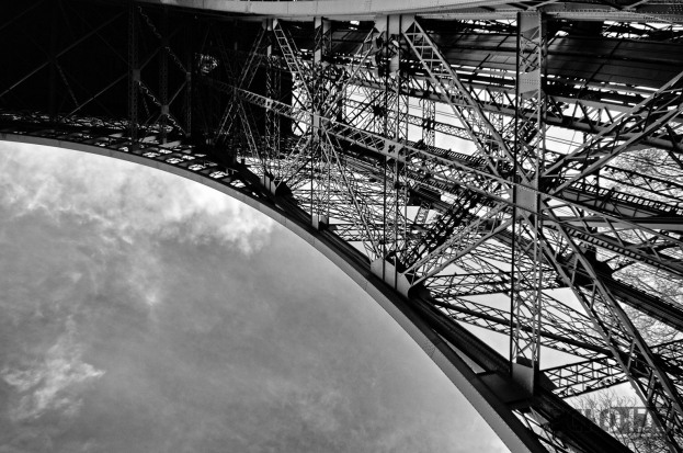 Under one of the legs of the Eiffel Tower.