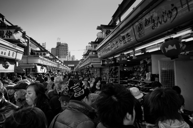 This is the market street leading up to Sensoji Temple, one of the most popular temples in Tokyo. The street was so packed full of people it was almost imposable to move but the market is full of fantastic street food and interesting shopping. http://www.japan-guide.com/e/e3001.html