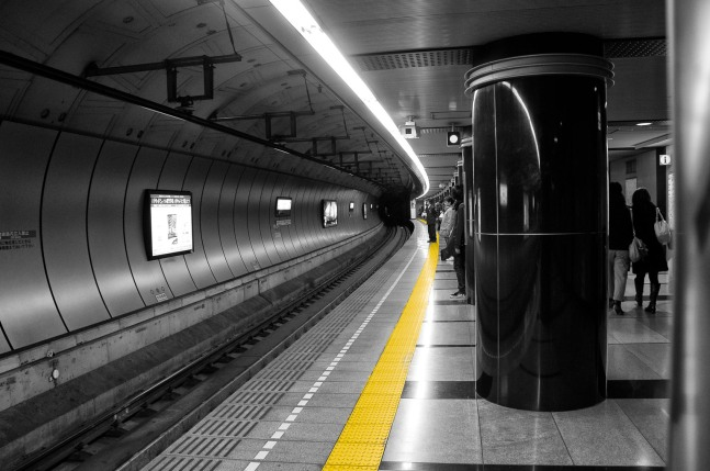 Just a snap from one of the Tokyo subway stations, I decided to do selective color to make the yellow line stand out.